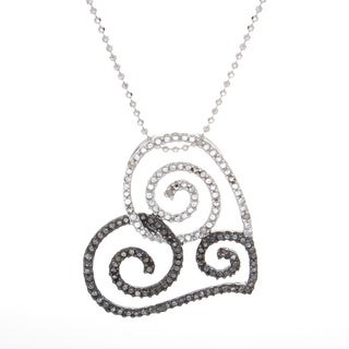 Victoria Kay Sterling Silver Black and White Diamond Swirl Heart Necklace