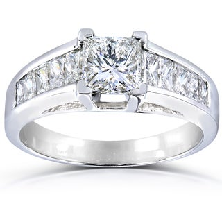 Annello Platinum 2ct TDW Certified Princess and Baguillion Diamond Engagement Ring (G, SI1)