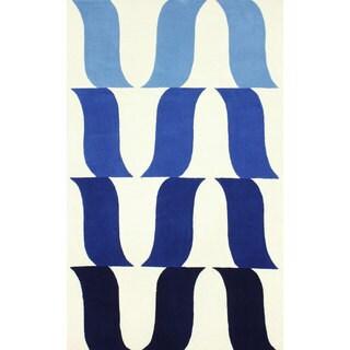 nuLOOM Handmade Modern Bell Wool Blue Rug (7'6 x 9'6)