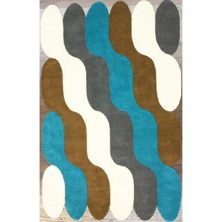 nuLOOM Handmade Modern Scalloped Waves Multi Wool Rug (7'6 x 9'6)