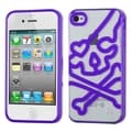 BasAcc Clear/ Purple Skullcap Gummy Case for Apple iPhone 4S/ 4