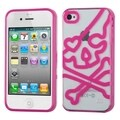 BasAcc Clear/ Hot Pink Skullcap Gummy Case for Apple iPhone 4S/ 4