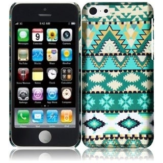 INSTEN Green Aztec Rubberized Hard Plastic Snap-on Phone Case Cover for Apple iPhone 5C