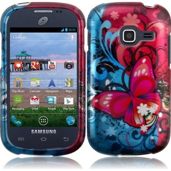 INSTEN Red/ Blue Butterfly Bliss Hard Plastic Snap-on Phone Case Cover for Samsung Galaxy Centura/ Discover