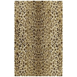 Hand-tufted Lawrence Cheetah Gold Wool Rug (2' x 3')