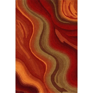 nuLOOM Handmade Abstract Waves Red Wool Rug (7'6 x 9'6)