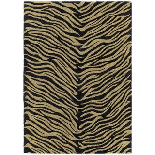 Hand-tufted Lawrence Zebra Black Wool Rug (7'6 x 9')