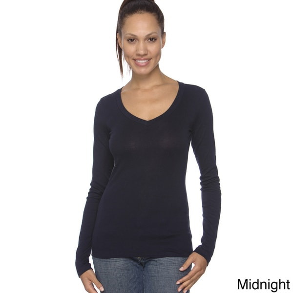 Bella Sheer Ribbed Long Sleeve V-neck Top