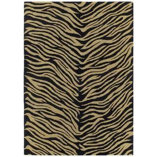 Hand-tufted Lawrence Zebra Black Wool Rug (5' x 7'9)