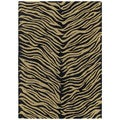 Hand-tufted Lawrence Zebra Black Wool Rug (5' x 7'9)