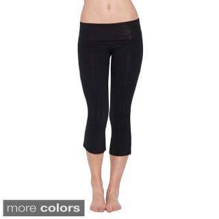 Women's Cotton/ Spandex Fold-over Capri Pants