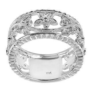 14k White Gold 1/3ct TDW Cutout Floral Diamond Band (H-I, I1-I2)
