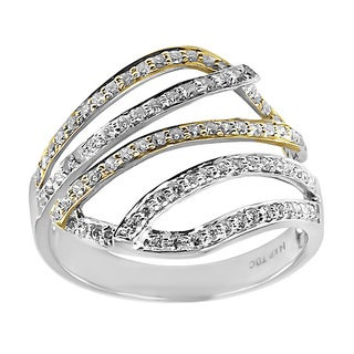 14k Gold 1/2ct TDW Two Tone Multi Row Open Design Diamond Ring