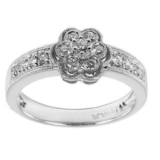 Platinum 1/3ct TDW Floral Multi Stone Diamond Ring (G-H, SI1-SI2)