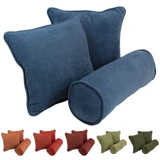Blazing Needles Earthtone Microsuede Throw Pillows (Set of 3)