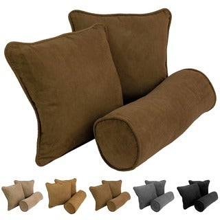 Blazing Needles Neutral Microsuede Throw Pillows (Set of 3)