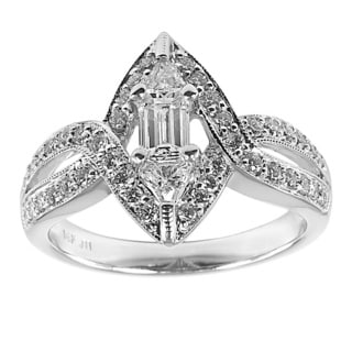14k White Gold 1ct TDW Vintage Baguette and Trillion Fancy Cut Diamond Ring