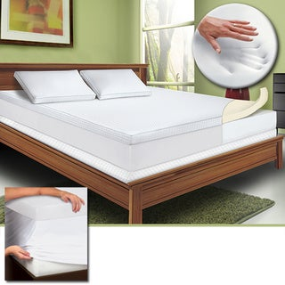 Bodipedic 3-inch Memory Foam Mattress Topper with Cover and Bonus Contour Pillow