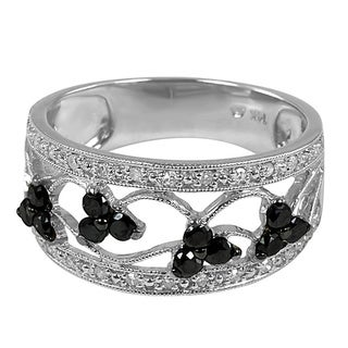 14k White Gold 1/2ct TDW Black and White Diamond Ring (H-I, I1-I2)