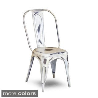 White Distressed Tolix Chair (India)