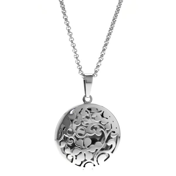 Stainless Steel Round Filigree Flower Locket Pendant
