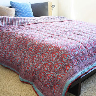 Red and Blue Organic Cotton Block Print Quilt (India)