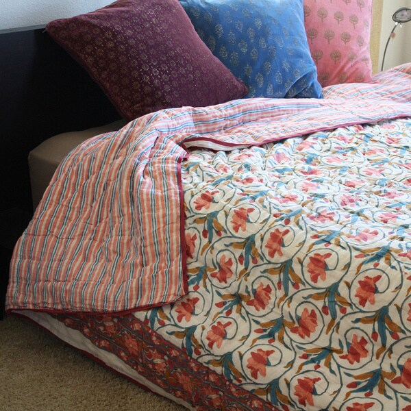 Timbergirl Pink and Blue Organic Cotton Block Print Quilt (India)