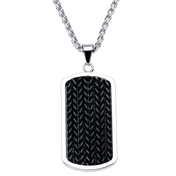 Stainless Steel Mens Black Ion-plated Dog Tag Pendant