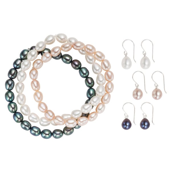 Pearlyta Sterling Silver Freshwater Pearl Stretch Bracelet and Hook Earring Set (6-7mm)
