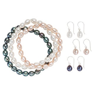Pearlyta Sterling Silver Freshwater Pearl Bracelet and Earring Set (6-7mm)