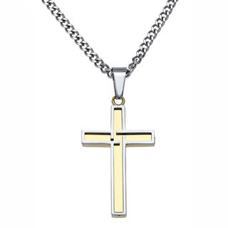 Stainless Steel Mens Gold Ion-plated Cross Pendant