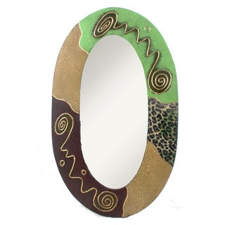 Green Batik Oval Mirror (Indonesia)