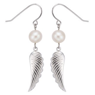 Pearlyta Sterling Silver Freshwater Pearl Dangle Earrings (7-8mm)