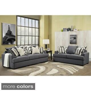 Furniture of America Bryen Skyler Contemporary Chenille Fabric Sofa and Loveseat Set