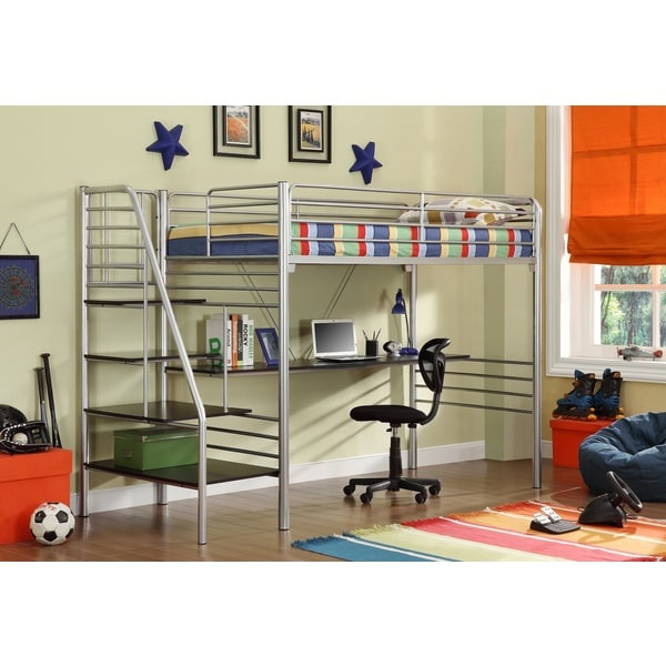 Donco Kids Twin Metal Stairway Study Loft