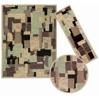 Nourison Patchwork Collection Beige 3-piece Rug Set (2'2 x 7'3) (5'3 5'3 Round) (7'10 x 10'6)