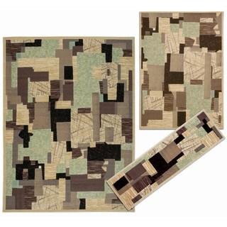 Nourison Patchwork Collection Beige 3-piece Rug Set (2'2 x 7'3) (5'3 x 7'3) (7'10 x 10'6)