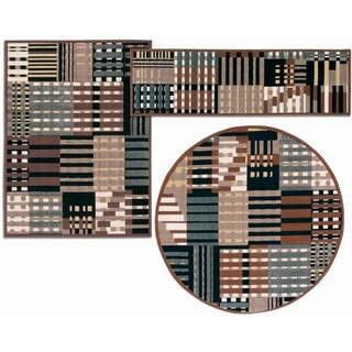 Nourison Artistic Stripes Collection Grey 3-piece Rug Set (2'2 x 7'3) (3'11 x 5'3) (5'3 x 5'3 Round)