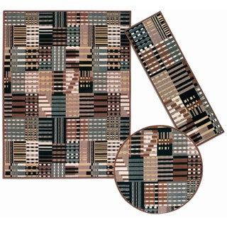 Nourison Artistic Stripes Collection Grey 3-piece Rug Set (2'2 x 7'3) (5'3 x 5'3 Round) (7'10 x 10'6)