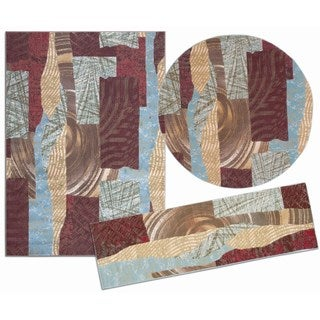 Nourison Shaded Shapes Collection Brown 3-piece Rug Set (2'2 x 7'3) ( 5'3 x 5'3 Round) (5'3 x 7'3)