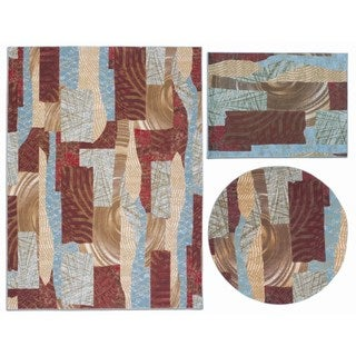 Nourison Shaded Shapes Collection Brown 3-piece Rug Set (3'11 x 5'3) ( 5'3 x 5'3 Round) (7'10 x 10'6)