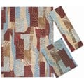 Nourison Shaded Shapes Collection Brown 3-piece Rug Set (2'2 x 7'3) ( 3'11 x 5'3) (7'10 x 10'6)