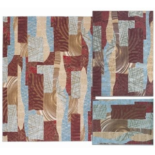 Nourison Shaded Shapes Collection Brown 3-piece Rug Set (3'11 x 5'3) (5'3 x 7'3) (7'10 x 10'6)