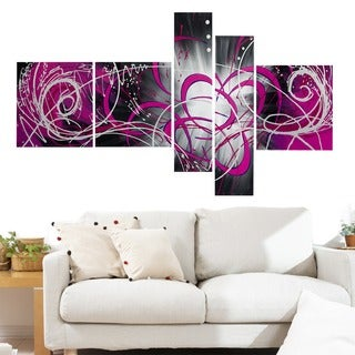 'Luminosity' 5-piece Pink Abstract Painting