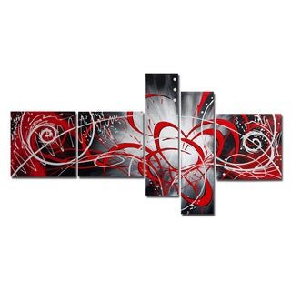 'Red Luminosity' 5-piece Red Abstract Painting