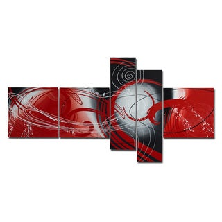 'Aurora' 5-piece Dark Red Abstract Painting