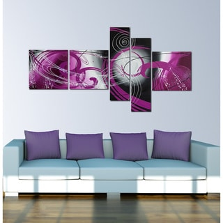 'Purple Planet' 5-piece Purple Abstract Painting
