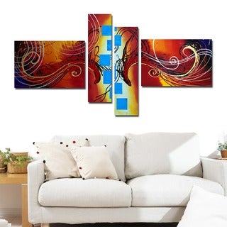 'Colorful Abstract' 4-piece Orange Abstract Painting