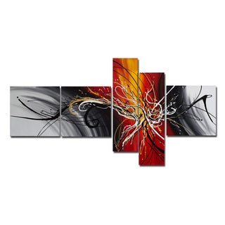 'Orange Splatter' 5-piece Orange/ Grey Abstract Painting