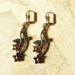 'Chantal' Copper and Crystal Flower Dangle Earrings